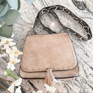 Jen&Co Grey Leopard Print Saddle Bag Purse